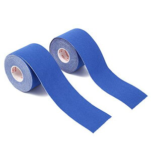 テーピングテープ キネシオテープ キネシオロジーテープ 2巻入 筋肉関節サポート 通気性伸縮性汗に強い 5cm x 5m (M&Boo) (ブルー)