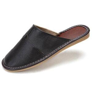 [EC-GOOD] オフィス スリッパ ビジネス サンダル メンズ レディース ユニセックス レザー ドクターサンダル 室内シューズ 社内履き 革靴 軽量 疲れない 蒸れない 通気性 (ダークブラウン)