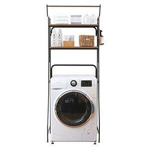 アイリスオーヤマ ランドリーラック ハンガーバー付き 可動棚 幅約70?(幅61?までの洗濯機に対応) ブラック HSLR-695
