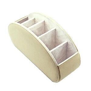 AN MA 卓上収納ケース ティッシュケース 多機能収納ボックス PUレザー 高級感 仕切り(5格) リモコンラック ボックス アクリル おしゃれ 卓上小物収納 (Box-007-White)