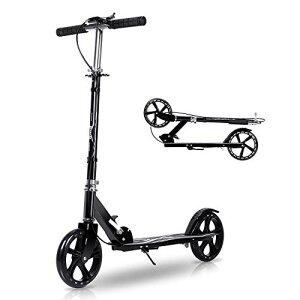 キックボード キックスクーター 子供 大人用 3段階調節 折りたたみ式 フット/ハンドブレーキ 持ち運び便利 アルミニウム製 立ち乗り式二輪車
