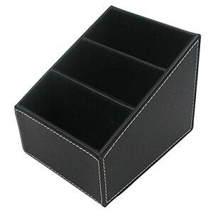 LEVIN 小物収納ボックス 3格 PUレザーボックス 卓上 収納ケース リモコンラック 収納ボックス (ブラック) [並行輸入品]