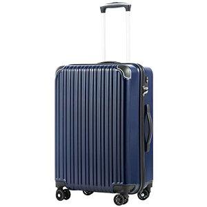 [クールライフ] COOLIFE スーツケース キャリーバッグダブルキャスター 二年安心保証 機内持込 ファスナー式 人気色 超軽量 TSAローク (ネービー S サイズ(機内持ち込み))