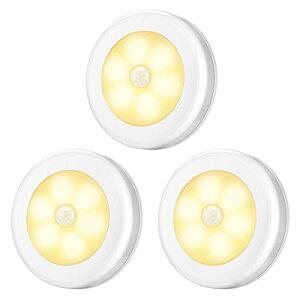 最新版 AMIR 人感センサー ライト 電池式 LEDライト キッチンライト 3Mテープ マグネット 磁石付き ナイトライト 室内 ワイヤレス バス用ライト 小型 夜間ライト 3個セット 暖色