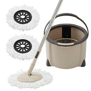 回転モップ Eyliden. フロアモップ フローリング ワイパー モップ回転 モップセット クロス2枚 取替 バケツ付き 一層式 洗浄 脱水 乾拭き 水拭き 掃除 軽量 床に優しい 長さ調節 バケツ分解可能