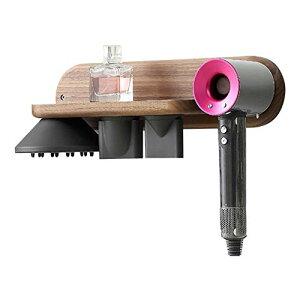 Xingsiyue ヘアドライヤーホルダー 壁掛け式 ブラッククルミ木製 ブラケット for Dyson Supersonic対応 スタンド 収納 オーガナイザー バスルーム 3ノズル