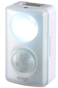ムサシ センサーライト RITEX LEDセンサーmini 乾電池式 室内 人感 ASL-015