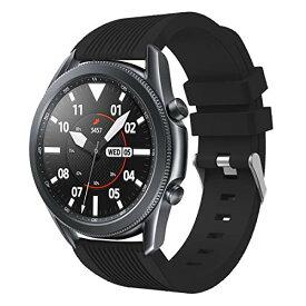 VICARA バンド Compatible with Galaxy Watch 3 45mm バンド 交換用ベルト 柔らかい シリコン ベルト Compatible ギャラクシー ウォッチ3 45mm バンド (ブラック)