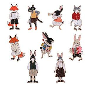 おしゃれ アニマル ブローチ 9種類 セット コサージュ ピン 動物 ねこ きつね うさぎ かわいい 北欧 アクセサリー 金具 飾り