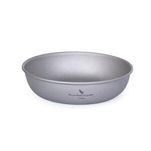 Boundless Voyage チタン皿 ラウンド プレート 食器 皿 割れない 錆びない 軽量 純チタン製 食洗機対応 自宅 アウトドア キャンプ メッシュ収納バッグ付き (11.3CM 小皿(1枚))Ti15136B
