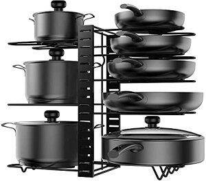 フライパンスタンド 8仕切り 鍋スタンド 鍋蓋収納 シンク下 ふたスタンド キッチン収納 ラック 滑り止め付き 縦置&横置可能 フライパン 収納、3つの取り付け方法(黒)