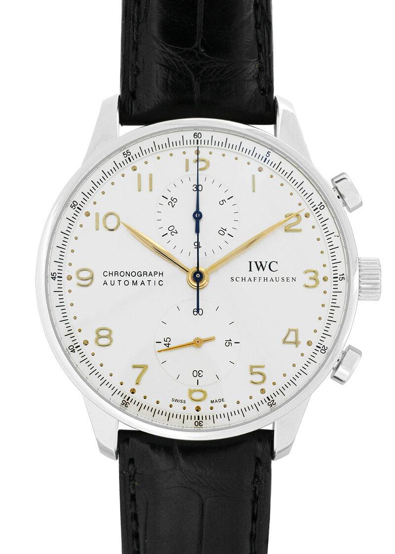 IWC IW371445 ポルトギーゼ クロノグラフ SS シルバー文字盤/RG針 自動巻 レザー