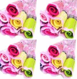 結婚式 プチギフト バラ 花束 タオル ギフト 20本 包装 付き 披露宴 飾り ハンカチ 結婚 パーティー 二次会 退職 プレゼント こども 子供会 【送料無料】tak-a40