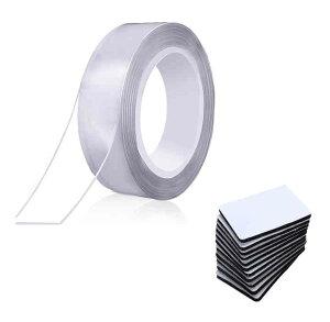 繰り返し はがせる 超強力 魔法テープ 30mm×5m マジックテープ 12枚付き 両面 粘着 テープ 透明 ポスター スマホ カーペット 【送料無料】tak-b72