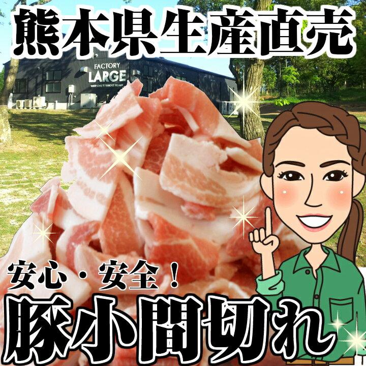 豚こま切れ1kg(500g×2) メガ盛り 訳あり 送料無料 豚肉 2kg以上でおまけ付き 熊本県産 国産 小間切れ 細切れ モンヴェールポーク 業務用 まとめ買い