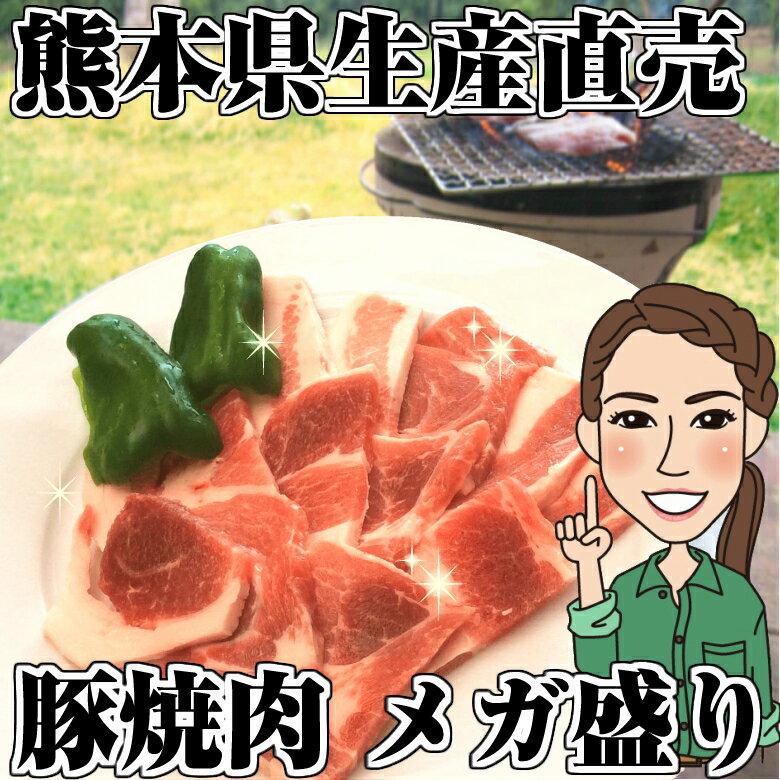 熊本県生産者直売希少品種豚 焼肉用メガ盛り1kg(モモ、カタ各500g)2kg以上でおまけ付き♪ メガ盛り約5人前!お徳用まとめ買い!業務用 バーベキュー 国産