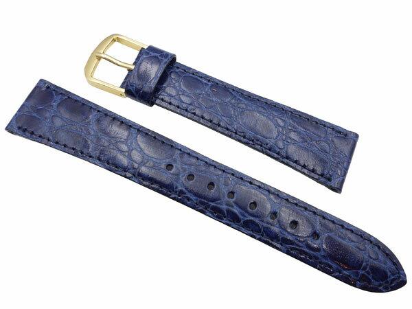 18mm セイコー 時計 バンド ベルト   DE91   牛革ワニ型押 青