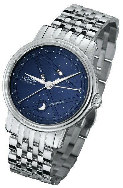 ウオッチ・トラベルケース プレゼントエポス EPOS 3391BLM 腕時計 メンズ エモーション ナイトスカイトリプルカレンダー ムーンフェイズ 正規品