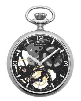 口袋里的手表有趣 EPOS 怀表 2003SKBK 双面骨架