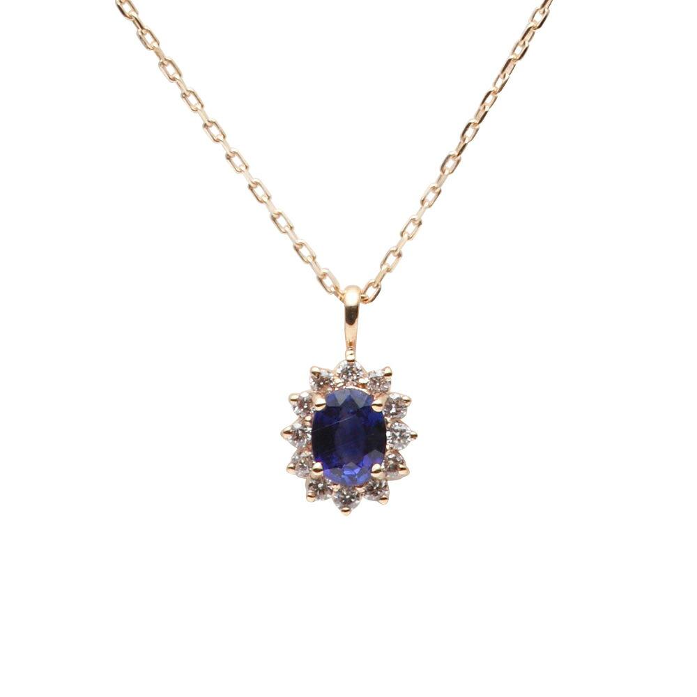 サファイア ネックレス Color Jewels ペンダント サファイア K10 レディース 9月 誕生石 クリスマス プレゼント