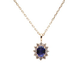 サファイア ネックレス ダイヤモンド Color Jewels ペンダント サファイア K10 レディース 9月 誕生石