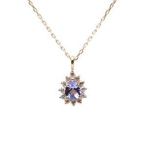 タンザナイト ネックレス ダイヤモンド Color Jewels ペンダント タンザナイト K10 レディース