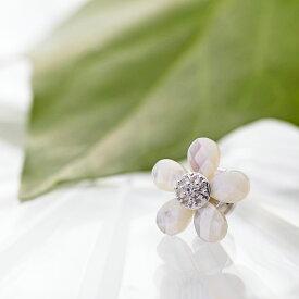 真珠母貝 ブローチ Flower ブローチ (ホワイト) レディース
