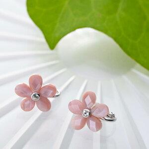 真珠母貝 イヤリング Flower イヤリング (フラワー イヤリング・ピンク) レディース