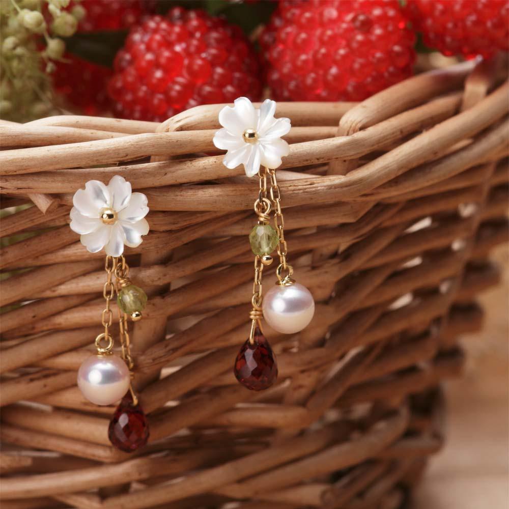 パール ピアス Strawberry ピアス K18