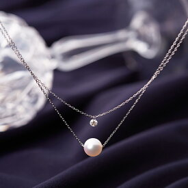 ダイヤモンド パール 2連 ネックレス Stella パール ペンダント K10WG レディース