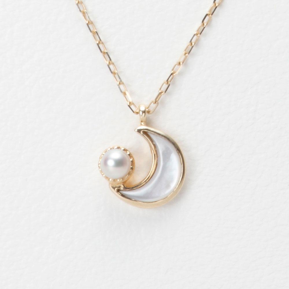 真珠母貝 ネックレス Baby Moon マザー オブ パール ペンダント K10 レディース