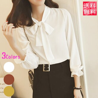 Bow tie frill blouse long sleeves party entrance ceremony entering a kindergarten-style graduation ceremony graduation ceremony business office formal suit plain fabric Lady's blouse white / yellow / brown