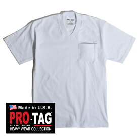 【30%OFF SALE セール】プロタグ ポケT ポケTEE 別注 ポケット Vネック Tシャツ 白T PRO TAG 無地 白 カットソー メンズ レディース 丸銅 MADE IN USA アメリカ製