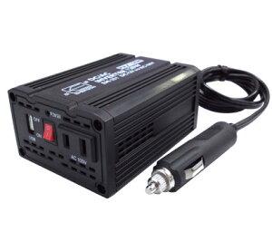 インバーター 2WAY 最大300W 定格120W 車 発電機 DC12V AC100V DC5V コンセント USB端子 2.1A シガーソケット EM-251 エマーソン