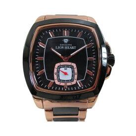 ライオンハート メンズ 紳士腕時計 黒文字盤 メタルバンド LHW102PBK/5881/送料無料