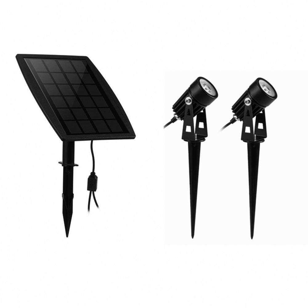 KEYNICE ソーラーLEDライトアウトドア スポットライト太陽光パネル充電 ガーデンライト 防犯対策IP65防水 15メートル照明距離 光センサー 自動点灯/消灯 玄関先 庭 車道 歩道のライトアップに適用 ウォームホワイト