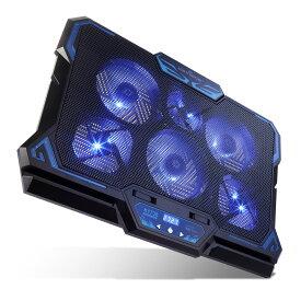 【ポイント5倍 -6/4 19:59】KEYNICE 冷却ファン ノートパソコン 冷却パッド 冷却台 LED搭載 超静音 USBポート2口 USB接続 風量調節可 高度調節可 17インチ型まで対応 6ファン kn-k1738j