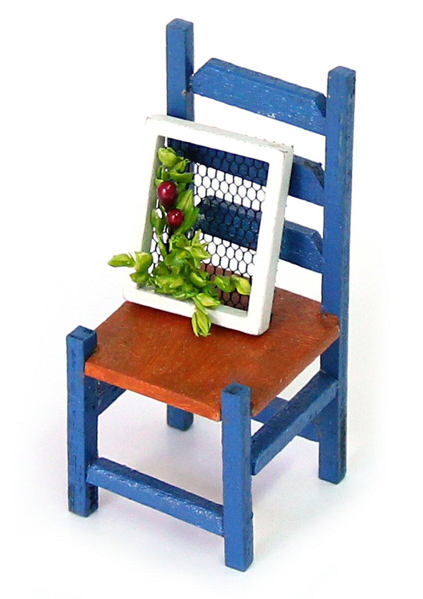 工作キット ドールハウスキット ミニチュアキット 雑貨おもしろ インテリア雑貨 木製 青い椅子