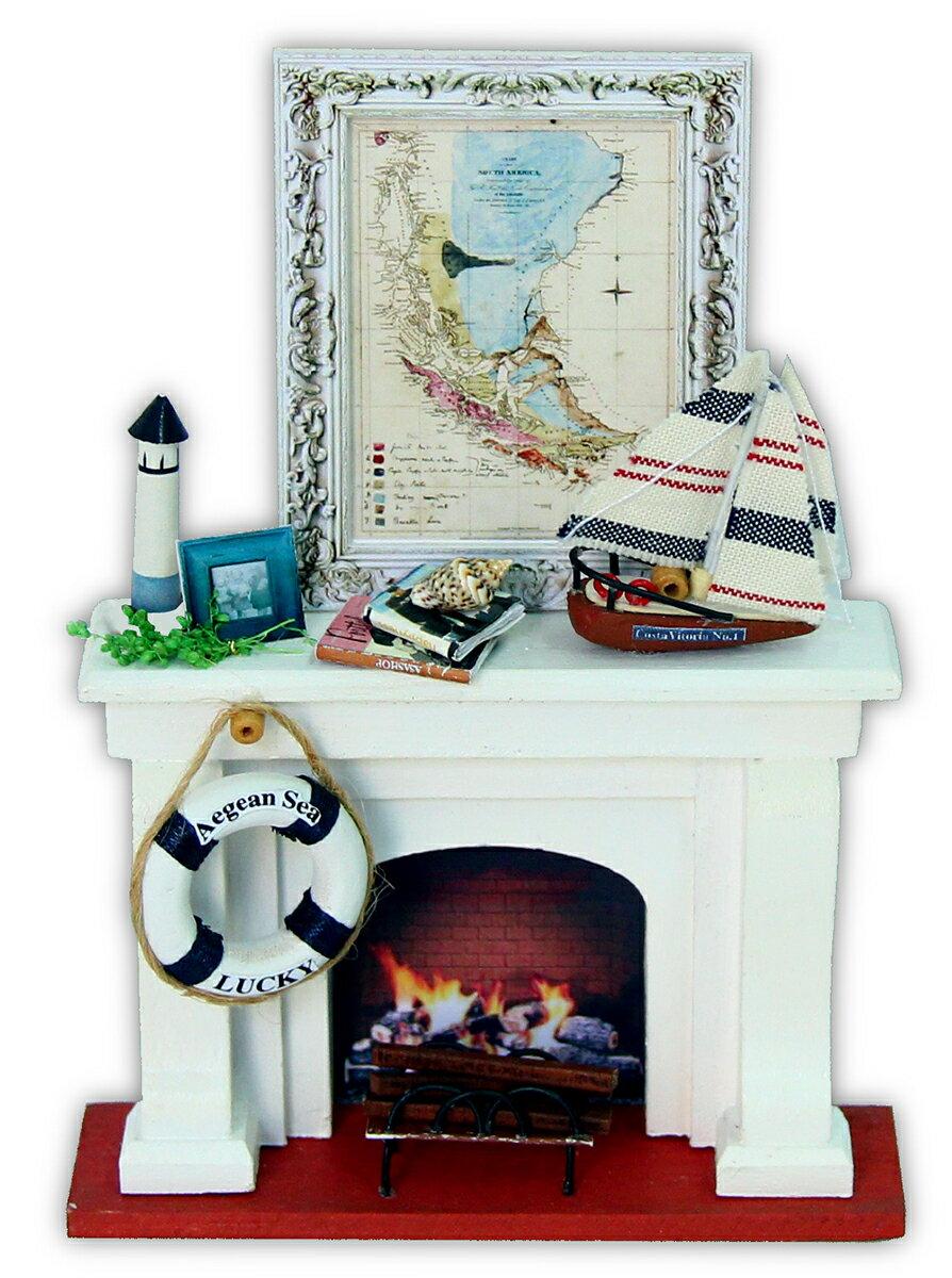 ドールハウスキット ミニチュアキット 工作キット 雑貨おもしろ 雑貨レトロ インテリア雑貨 木製 白い暖炉