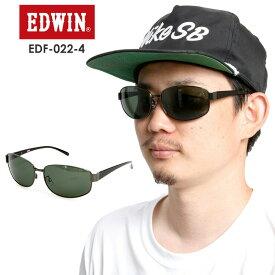 EDWIN エドウィン 偏光メタルサングラス EDF-022-4 【GUN/BLACK】 GREEN POLA 偏光 スポーツ タウンユース【モアスノー】