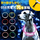 光る首輪 USB充電式 LEDライト 小型犬 中型犬 大型犬 散歩 夜 さんぽ ひかる ペット 安全 事故防止 首輪 ランニング …