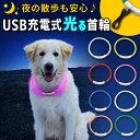 光る首輪 USB充電式 LEDライト 散歩 犬 夜 さんぽ ひかる ペット 安全 事故防止 首輪 ランニング 自転車 リード 点滅 …