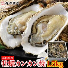 【送料無料】牡蠣のカンカン焼き 殻付きマガキたっぷり1.5kg! 冷凍便BBQ/バーベキュー お中元 お取り寄せグルメ 冷凍食品