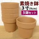 洋蘭栽培プロ用 『3号素焼き鉢5鉢セット』