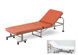 【代引不可】省スペースベッド(レザータイプ・組み立て式)【折りたたみベッド】【簡易ベッド】【収納】【リクライニング】