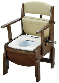 リッチェル 木製トイレ きらくコンパクト  暖房便座 肘掛跳ね上げ(品番18570)【介護【介護用品】【介護 トイレ】