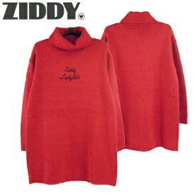 【SALE_セール】ZIDDY(ジディー)ハイネック ロゴ刺繍ワンピース1221-19994