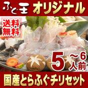 【送料無料】国産とらふぐチリ満腹セット◆5〜6人前◆