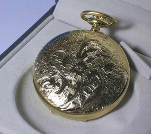 懐中時計の名門スイス アエロウォッチ社の金時計 蓋付き チェーン付き 懐中時計(金メッキ)55644-J501 [送料無料]