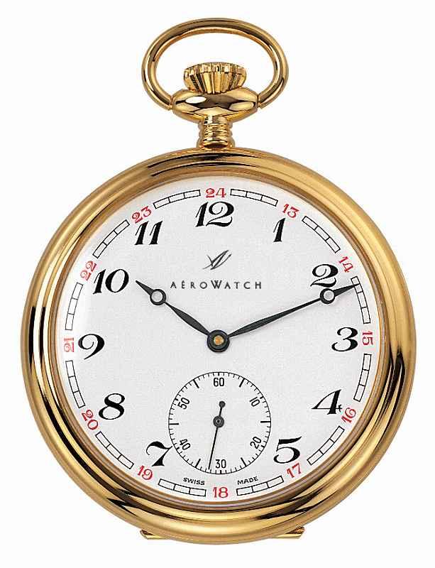 アエロ懐中時計(手巻き) 金時計 (18金メッキ) スイス製 50794-J302 [送料無料]